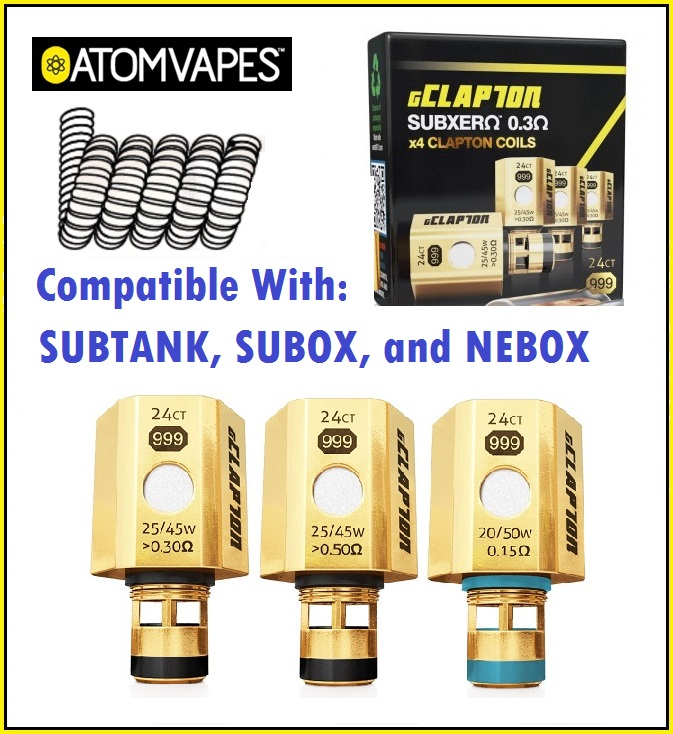 Atom Vapes Gold Plated Clapton Coil for SUBTANK, SUBOX, NEBOX