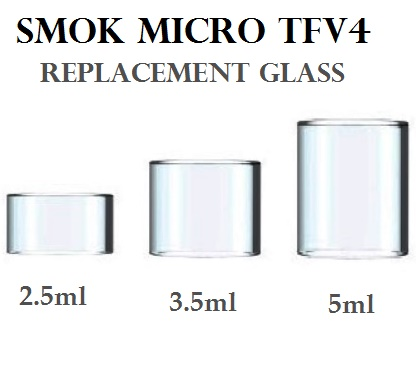 Smok Micro TFV4 Replacement Glass, three sizes