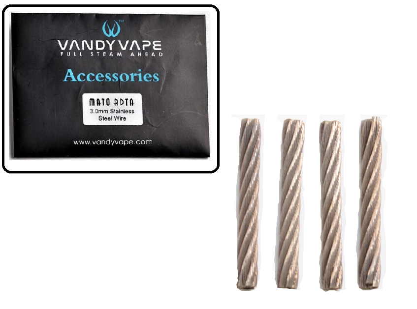 Vandy Vape Mato Guide Wick, 4 Pack of 3.0mm Stainless Steel Wire Wicks
